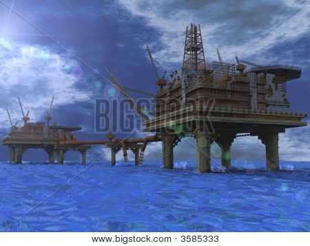 Oilrig In The Middle Of The Ocean