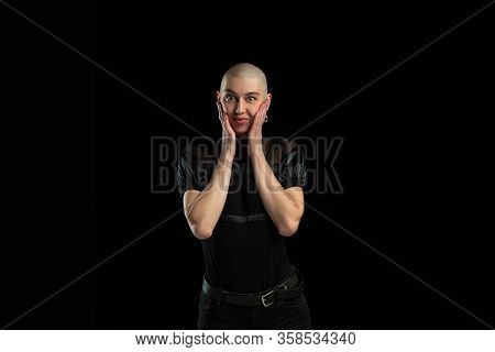 Astonished, Cute. Monochrome Portrait Of Young Caucasian Bald Woman Isolated On Black Studio Backgro