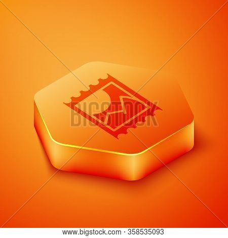 Isometric Lsd Acid Mark Icon Isolated On Orange Background. Acid Narcotic. Postmark. Postage Stamp.