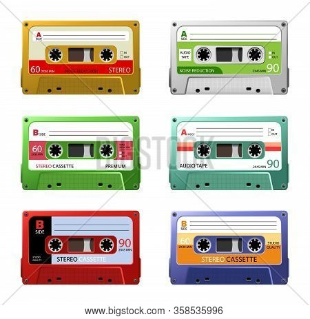 Vintage Music Cassettes. Retro Dj Sound Tape, 1980s Rave Party Stereo Mix. 90s Hifi Disco Dance Audi
