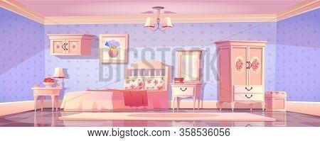 Shabby Chic Bedroom Interior, Empty Vintage Room With Elegant Retro Furniture, Mirror, Bed, Cupboard