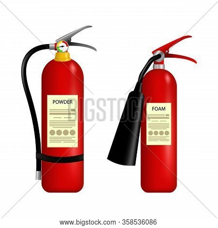 Fire Extinguisher Vector. Burning Fire Flame. Fire Extinguisher Vector Fire-extinguisher For Safety