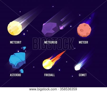 Space Objects. Glowing Universe Astronomy Set Meteor Asteroid Vector Comets Collection In Cartoon St