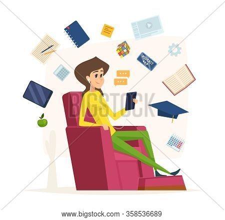 Online Education. Character Listen Headset Music Reading Audio Books University Studies Vector Conce