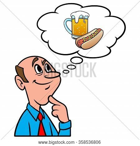 Thinking About Oktoberfest - A Cartoon Illustration Of A Man Thinking About Oktoberfest.