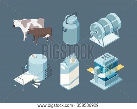 Dairy Food. Milk Farm Products Production Ice Cream Cheese Yogurt Vector Isometric Set. Food Farm Mi