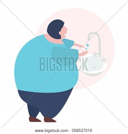 Young Woman Can Not Wash Her Hands Because Of Water Breakdown.