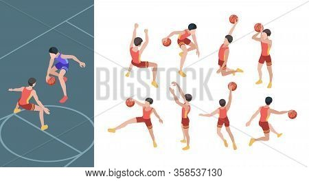 Basketball Game. Sport Players In Active Action Poses Isometric Basketball Gamers Vector Set. Basket