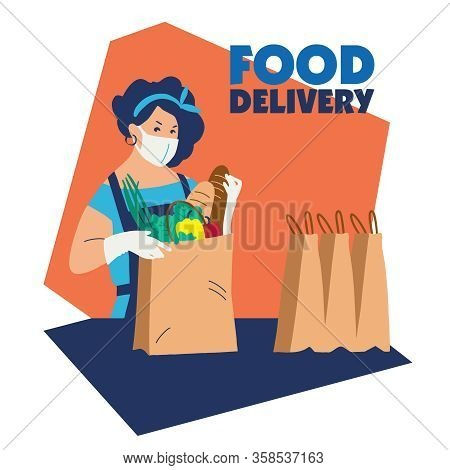 Food Delivery. Delivery Of Goods For The Prevention Of Coronovirus Covid-19. The Girl Is Preparing F