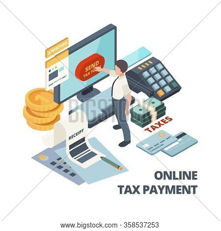 Online Payment Invoice. Tax Bills Accounting Services Vector Isometric Concept. Accounting Payment,