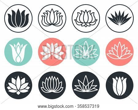 Lotus Flowers Icon. Stylized Abstract Beauty Harmony Plants Vector Collection Symbols. Blossom Plant