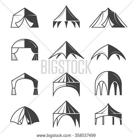 Tent Silhouettes. Outdoor Party Event Buildings Pavilion Marquee Vector Tent Collection. Pavilion Ca