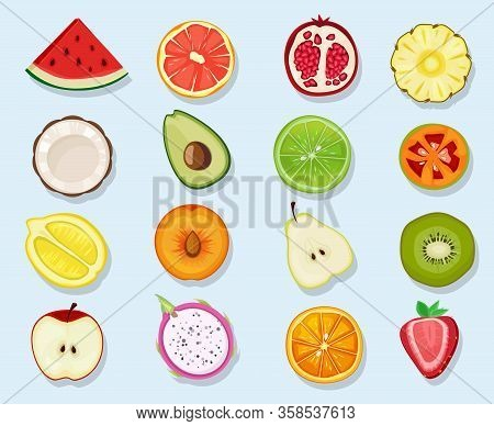 Half Fruits Circle Icons. Cute Cartoon Healthy Vegan Natural Products Plants Food Orange Lemon Apple
