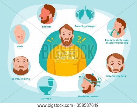 Allergic Symptoms. Infected Human Sneezing Infections Sick Asthma Toilet Vector Infographic Illustra