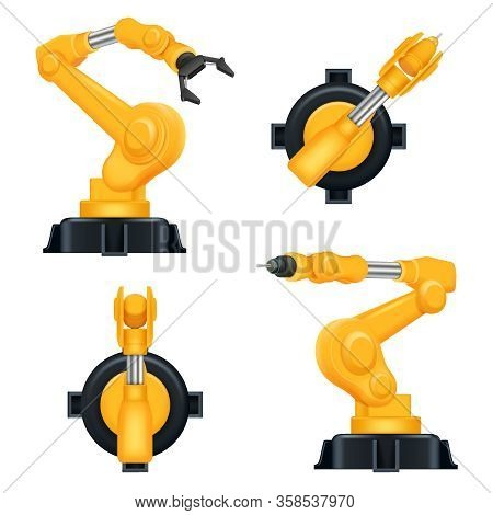 Robotic Arms. Industrial Machinery Factory Mechanic Hydraulic Crane For Steel Industry Automation Pr