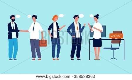 People Waiting For Interview. Vacant Position, Hiring. Queue To Office Vector Illustration. People W