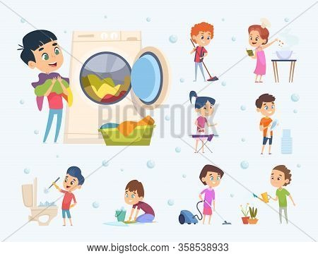 Children Housework. Little Kids Boys And Girls Helping Sweeping Showering Floor Wash Furniture And T