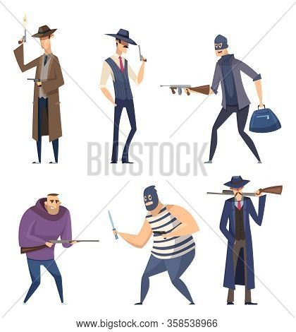 Gangster Cartoon. Retro Soldiers Bandit Masked With Weapons Guns Threat Characters Vector Attack Per