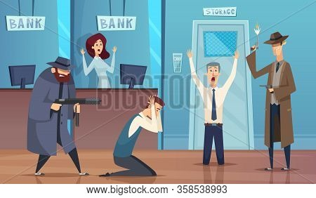 Robbery Bank. Masked Bandit Gangster Robbery Money Cash Bad Security Service Vector Cartoon Backgrou