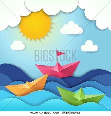 Origami Boat. Cut Paper Ocean Waves Shadows Vector Ship Stylized Illustration. Ocean Boat In Sea, Sh