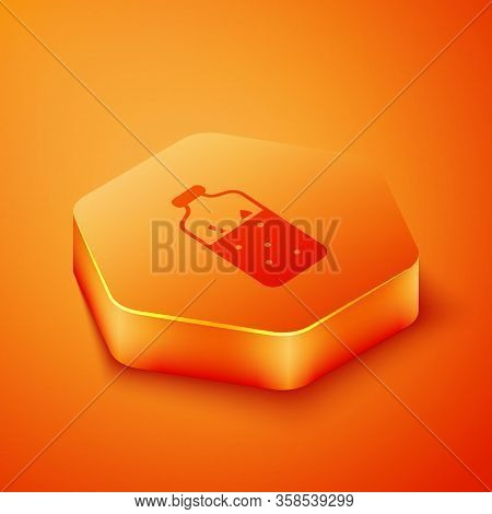 Isometric Mulled Wine With Ingredients Icon Isolated On Orange Background. Cinnamon Stick, Clove, Le