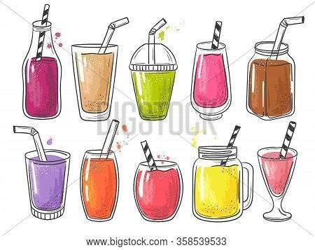 Summer Smoothie. Fruits Cold Healthy Drinks Vitamin Juice Vector Shake Illustration. Smoothie Shake