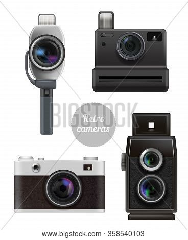 Retro Cameras. Vintage Electronic Professional Photo And Video Technics Vector Realistic Pictures Se