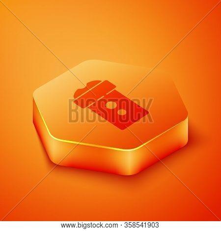 Isometric Vagina Masturbator Icon Isolated On Orange Background. Sex Toy For Man. Orange Hexagon But