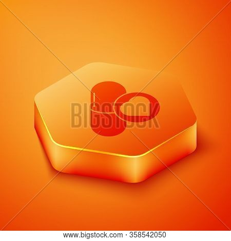 Isometric Pills For Potency, Aphrodisiac Icon Isolated On Orange Background. Sex Pills For Men And W