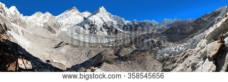 Beautiful View Of Mount Everest, Lhotse And Nuptse From Pumo Ri Base Camp With Blue Clear Sky - Way
