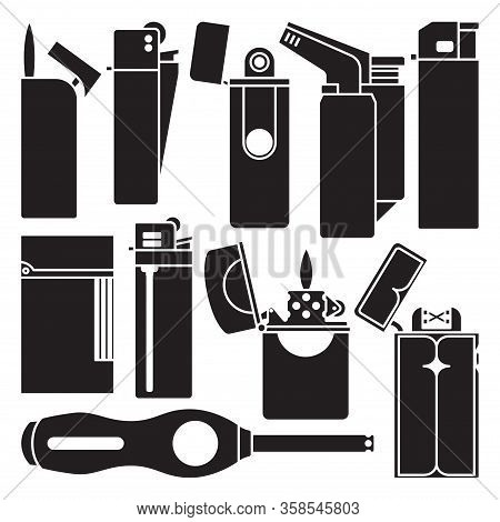 Lighter Of Flame Vector Black Set Icon. Isolated Black Set Icon Equipment For Ignite. Vector Illustr