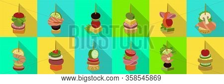 Canape Of Appetizer Flat Vector Illustration On White Background .canape For Buffet Set Icon. Vector