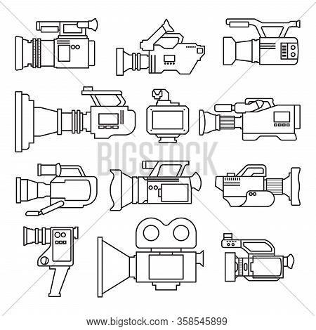 Video Camera Outline Vector Illustration On White Background .video Camera Set Icon. Vector Illustra