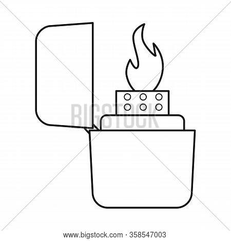 Vector Illustration Of Lighter And Butane Sign. Web Element Of Lighter And Flame Vector Icon For Sto