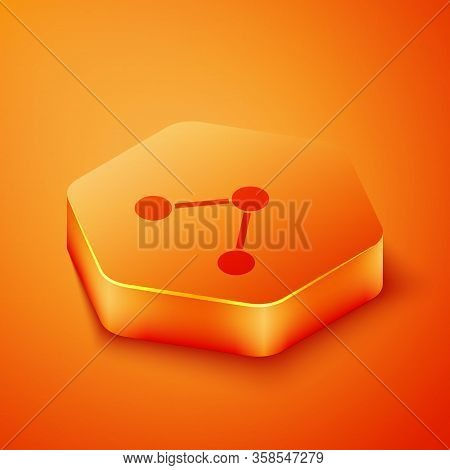 Isometric Share Icon Isolated On Orange Background. Share, Sharing, Communication Pictogram, Social