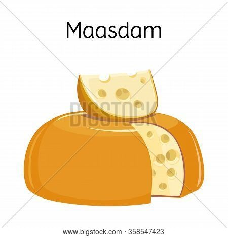 Vector Design Of Cheese And Maasdam Sign. Graphic Of Cheese And Piece Stock Symbol For Web.