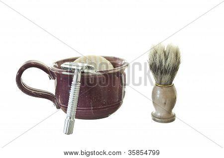 Old Fashioned Shaving Kit with Mug, Brush, and Razor