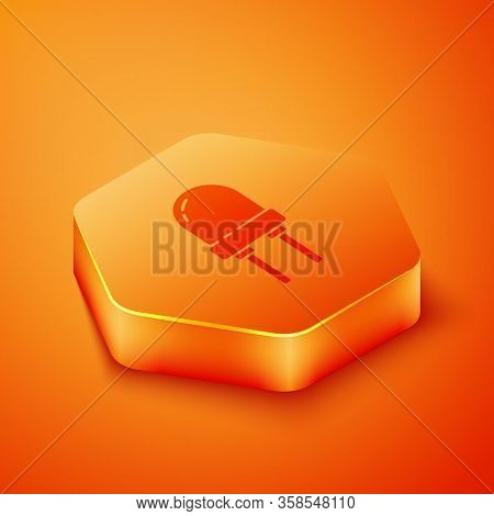 Isometric Light Emitting Diode Icon Isolated On Orange Background. Semiconductor Diode Electrical Co