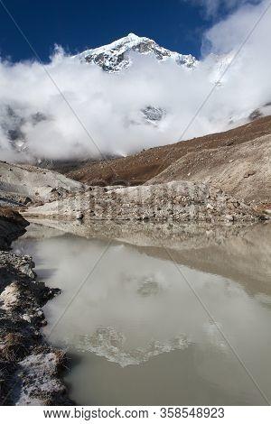 Peak Seven 7 Vii Mirroring In Lake, Beautiful Mount On The Way To Makalu Base Camp, Barun Valley, Ne