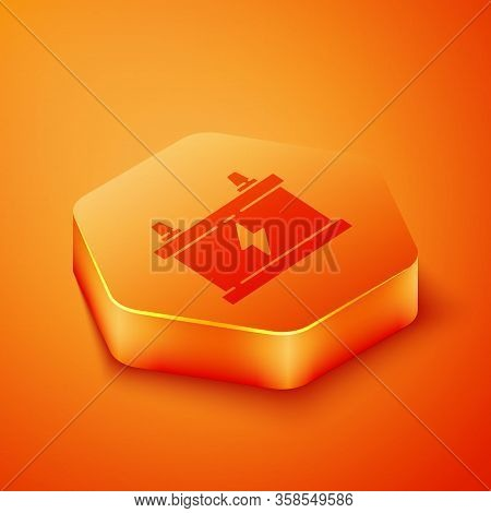 Isometric Car Battery Icon Isolated On Orange Background. Accumulator Battery Energy Power And Elect