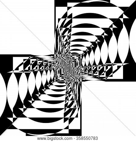 Abstract Arabesque Random Aproach Circle And Square Balance Game Perspective Design Black On Transpa