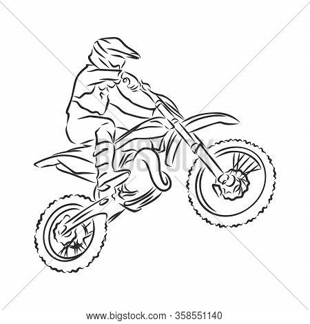 Motocross Motorbike Hand Drawn Vector Illustration Sketch