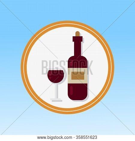 Alcoholic Beverage And Glass Flat Vector Icon. Red Wine Tasting. Restaurant Dinner Invitation. Leisu