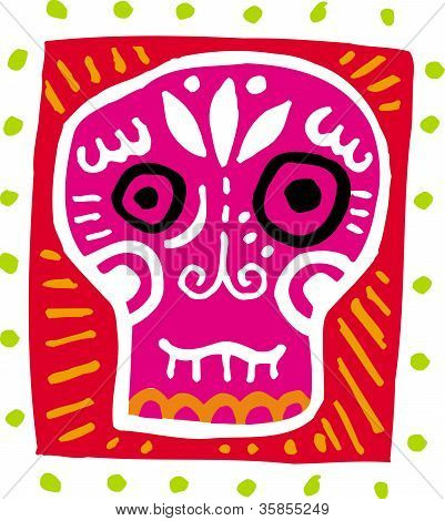 An Illustration Of A Pink Skull With Border