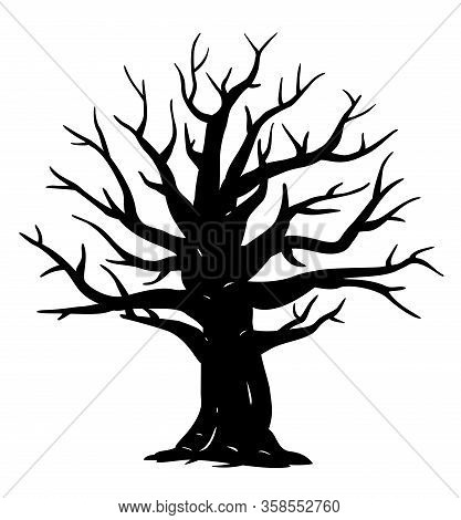 Silhouette Of One Wide Massive Old Oak Tree Without Leaves Isolated Illustration, Black Majestic Oak