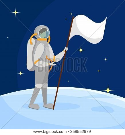 Astronaut Standing On Moon Surface With White Flag In Hand On Starry Dark Blue Sky Background. Outer