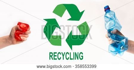 Waste Utilization Concept. People Holding Plastic Trash And Recycling Symbol On White Background, Co