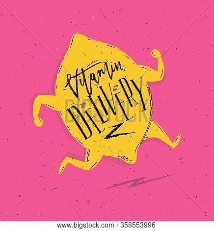 Poster Running Brocoli In Vintage Style Lettering Healthy Delivery Drawing On Pink Background
