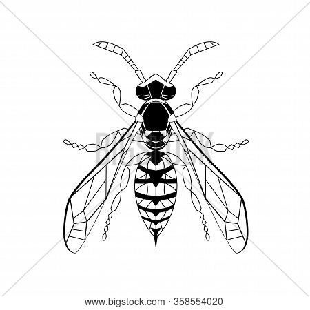 Wasp Line Drawing Cartoon For Adult Antistress Coloring Page. Bee Isolated On White Background. Bumb