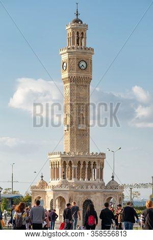 Izmir, Turkey - November 5, 2019: Izmir Clock Tower at day time at the Konak Square in Izmir, Turkey.